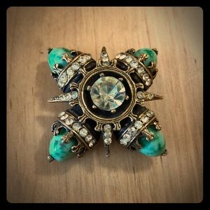 Vintage Crystal and Stone Brooch